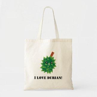 Bolsa Tote Eu amo a fruta Manga de Kawaii do Durian