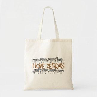 Bolsa Tote Eu amo a sacola das zebras