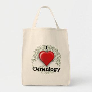 Bolsa Tote Eu amo a sacola do costume da árvore genealógica