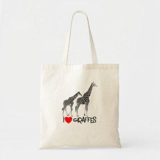Bolsa Tote Eu amo a sacola dos girafas