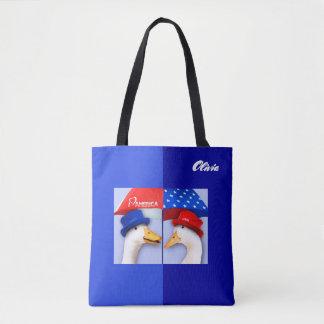 Bolsa Tote Eu amo América. Sacolas engraçadas do costume dos