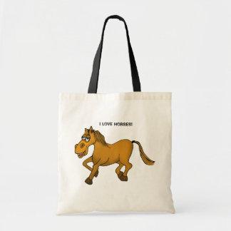 Bolsa Tote Eu amo cavalos. Cavalo dos desenhos animados em um