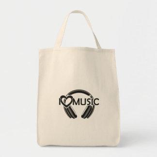Bolsa Tote Eu amo fones de ouvido da música