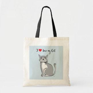Bolsa Tote Eu amo meu gato, gráfico bonito,