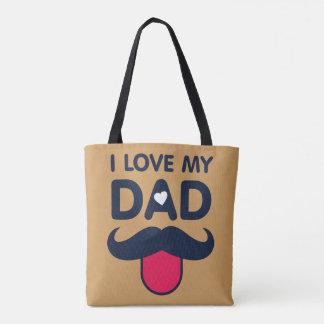 Bolsa Tote Eu amo meu ícone bonito do bigode do pai