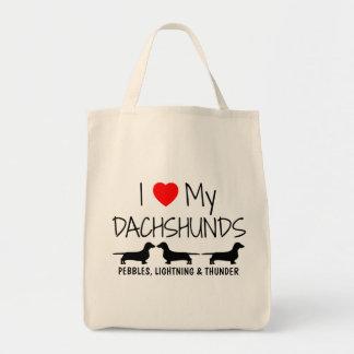 Bolsa Tote Eu amo meus três Dachshunds