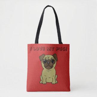 Bolsa Tote Eu amo minha sacola bonito do cão do Pug