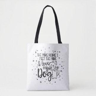 Bolsa Tote Eu amo minha sacola do cão