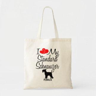 Bolsa Tote Eu amo minha sacola do cão do Schnauzer padrão