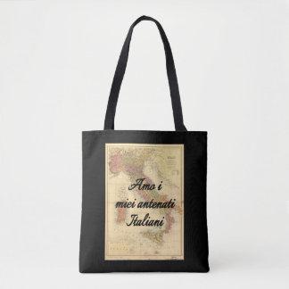 Bolsa Tote Eu amo minha sacola feita sob encomenda italiana