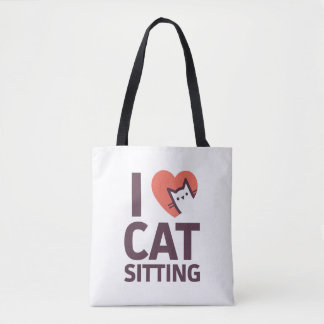 Bolsa Tote Eu amo o assento do gato