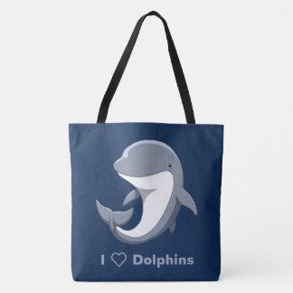 Bolsa Tote Eu amo o Bottlenose bonito dos golfinhos