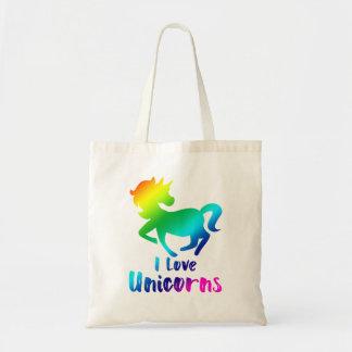 Bolsa Tote Eu amo o design do arco-íris dos unicórnios