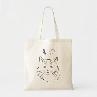 Bolsa Tote Eu amo o gato - saco