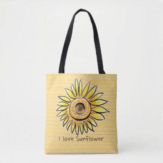 Bolsa Tote Eu amo o girassol e o verão com listras amarelas