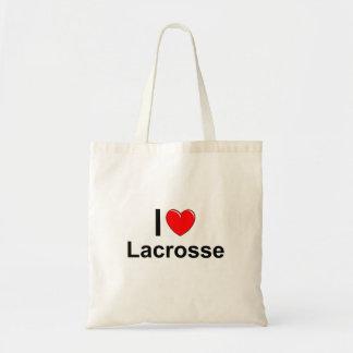 Bolsa Tote Eu amo o Lacrosse do coração