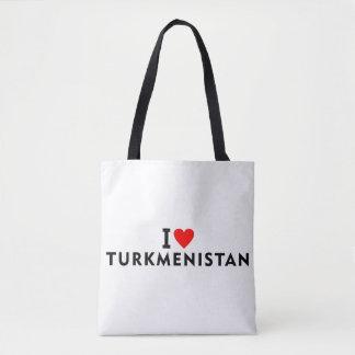 Bolsa Tote Eu amo o país de Turkmenistan como a excursão do