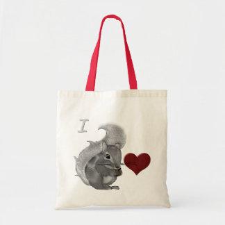 Bolsa Tote Eu bebê do coração Squirrels o animal distorcido