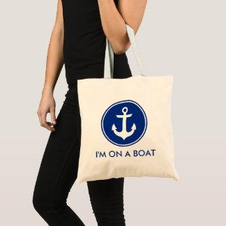 Bolsa Tote Eu estou em uma sacola azul náutica da âncora do