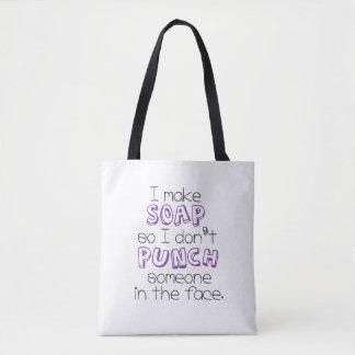 """Bolsa Tote """"Eu faço sacola das citações do sabão"""" - roxo"""