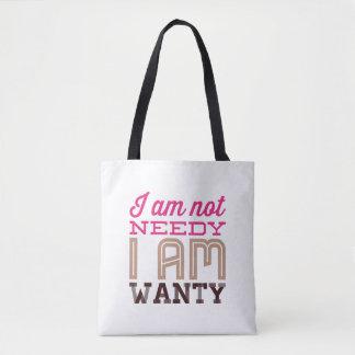Bolsa Tote Eu não sou carente mim sou divertimento de Wanty