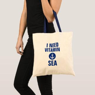 Bolsa Tote Eu preciso a sacola azul náutica B da âncora do