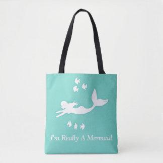 Bolsa Tote Eu sou realmente uma sacola do verde de mar da