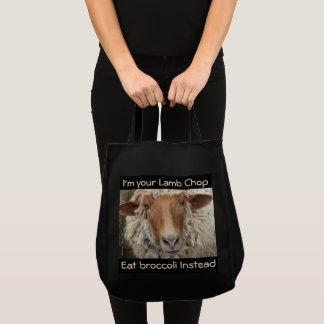 Bolsa Tote Eu sou sua costeleta de cordeiro--Coma brócolos