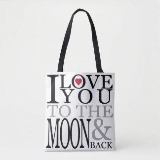 Bolsa Tote Eu te amo à lua e à parte traseira