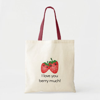 Bolsa Tote Eu te amo baga bonito muita fruta da morango de