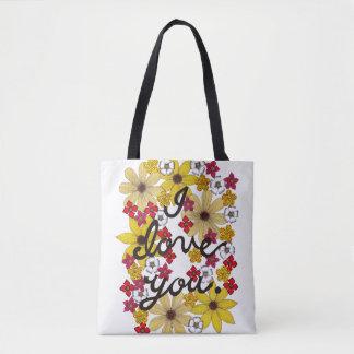 Bolsa Tote Eu te amo tipografia com flores amarelas