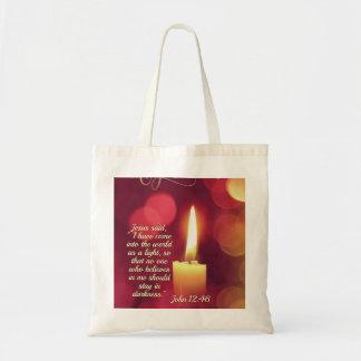 Bolsa Tote Eu vim como uma luz, verso da bíblia do 12:46 de