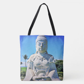 """Bolsa Tote """"Expire"""" a sacola branca da foto de Havaí Buddha"""