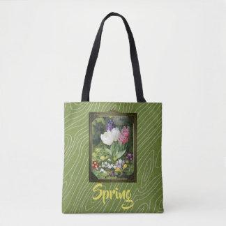 Bolsa Tote Extravagância da flor do primavera do vintage