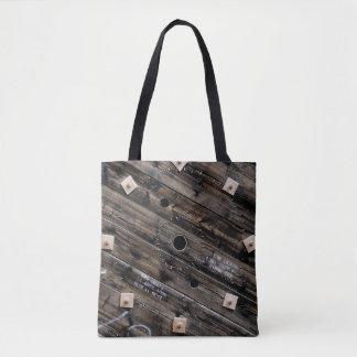 Bolsa Tote Extremidade do carretel industrial de madeira do