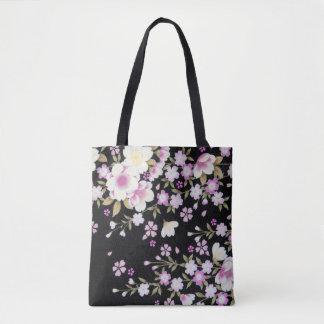 Bolsa Tote Falln que conecta flores cor-de-rosa