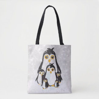 Bolsa Tote Família do pinguim da sacola