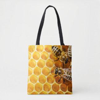 Bolsa Tote Favo de mel e design do teste padrão das abelhas