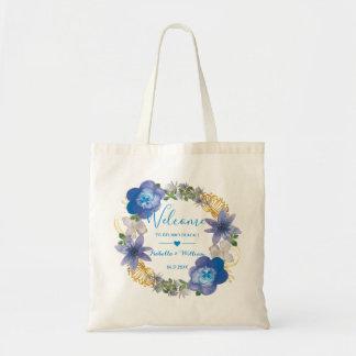Bolsa Tote Favor floral do casamento dos Hydrangeas azuis do