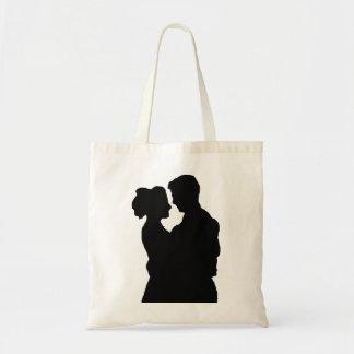 Bolsa Tote Favores do casamento - silhueta do casal