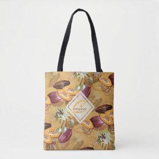 Bolsa Tote Feijões de cacau, flores do chocolate, os