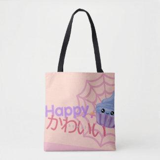 Bolsa Tote Feliz bonito + Cupcake de Kawaii