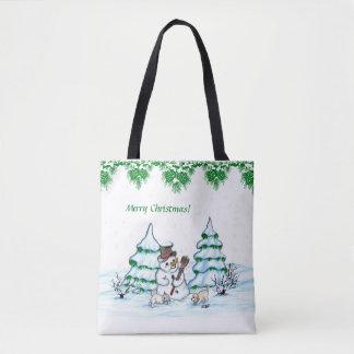 Bolsa Tote Feliz Natal! Boneco de neve com gato e filhote de