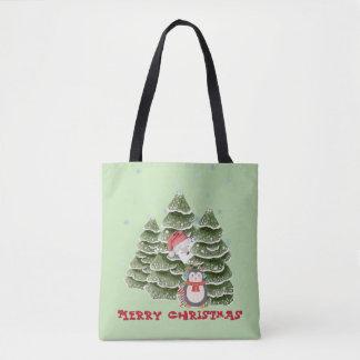 Bolsa Tote Feliz Natal com um pinguim e um urso polar