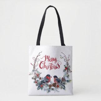 Bolsa Tote Feliz Natal da grinalda dos Bullfinches