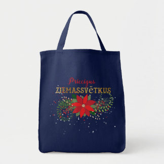 Bolsa Tote Feliz Natal em floral letão