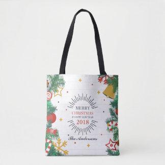 Bolsa Tote Feliz Natal personalizado e sacola do ano novo