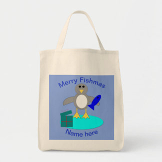 Bolsa Tote Feliz Natal que pesca o saco do costume do pinguim