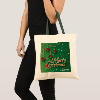 Bolsa Tote Feliz Natal verde-claro