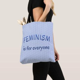 Bolsa Tote Feminismo para todos azul modelado
